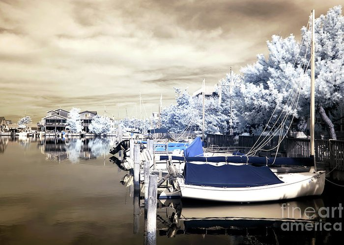 Infrared Boats At Lbi Greeting Card featuring the photograph Infrared Boats At Lbi by John Rizzuto
