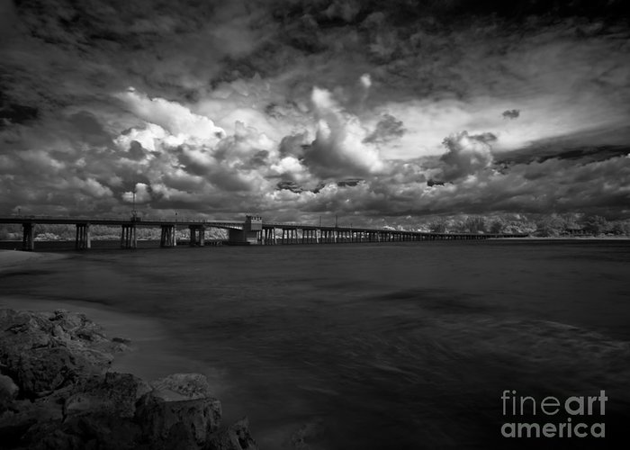 Infrared Greeting Card featuring the photograph Infrared Longboat Pass Bridge by Rolf Bertram