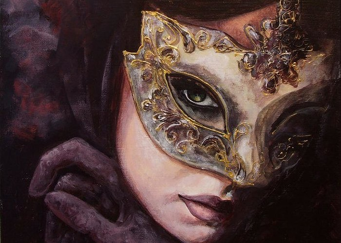 Art Greeting Card featuring the painting Ingredient Of Mystery by Dorina Costras