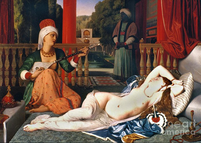 1842 Greeting Card featuring the painting Ingres: Odalisque by Granger