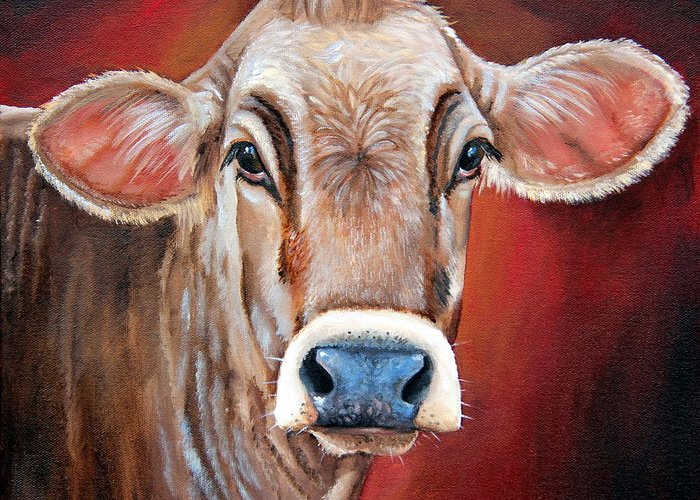Brown Swiss Greeting Card featuring the painting Ingrid by Laura Carey