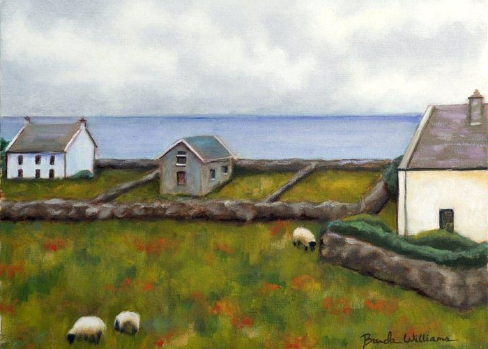 Oil Greeting Card featuring the painting Inishmore Island by Brenda Williams