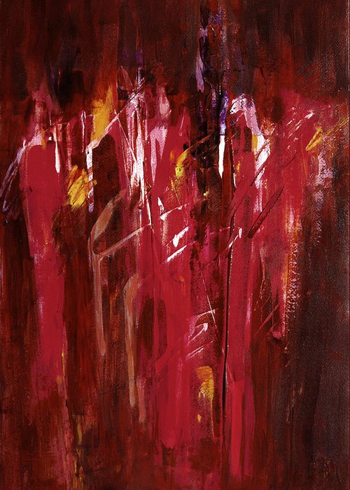 Abstract Greeting Card featuring the painting Initiation by Tara Moorman