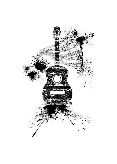 Inked Guitar Transparent Background Greeting Card For Sale By Barbara St Jean