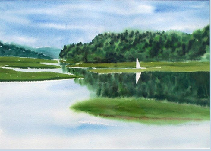 Landscape Greeting Card featuring the painting Inland Harbor by Anne Trotter Hodge