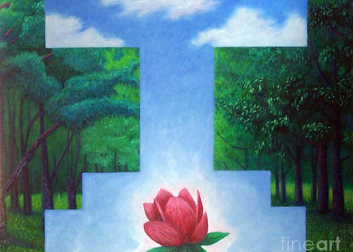 Spiritual Greeting Card featuring the painting Inner Bliss by Brian Commerford