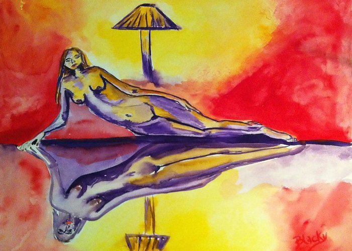 Woman Greeting Card featuring the painting Inner Reflections by Donna Blackhall