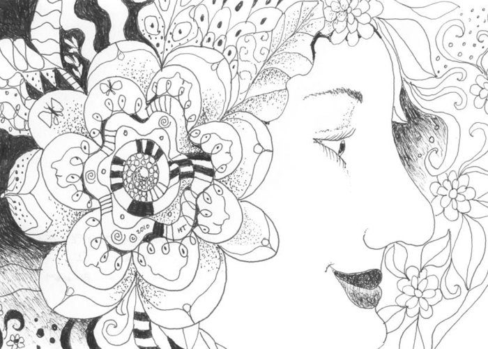 Life Greeting Card featuring the drawing Innocence And Experience by Helena Tiainen