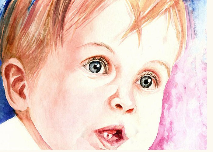 Watercolor Greeting Card featuring the painting Innocence by Arti Chauhan