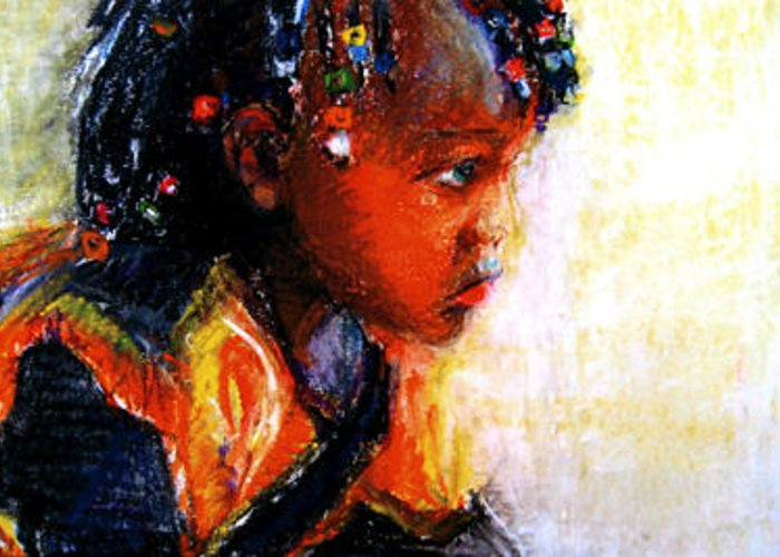 African Child Greeting Card featuring the painting Innocence by Michelle Winnie