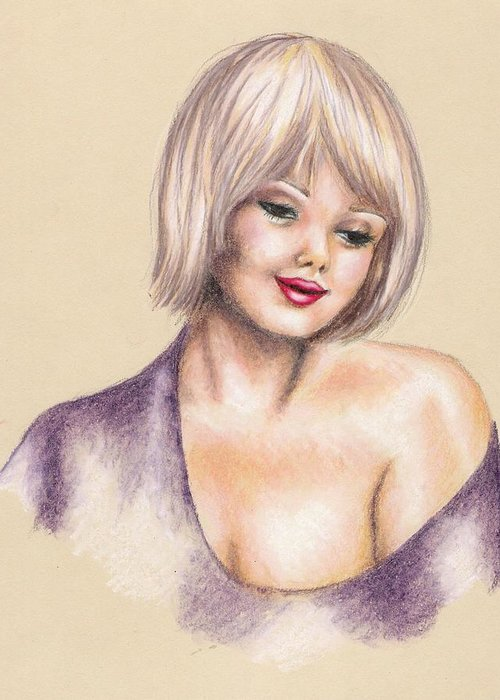 Portrait Greeting Card featuring the drawing Innocence by Scarlett Royal