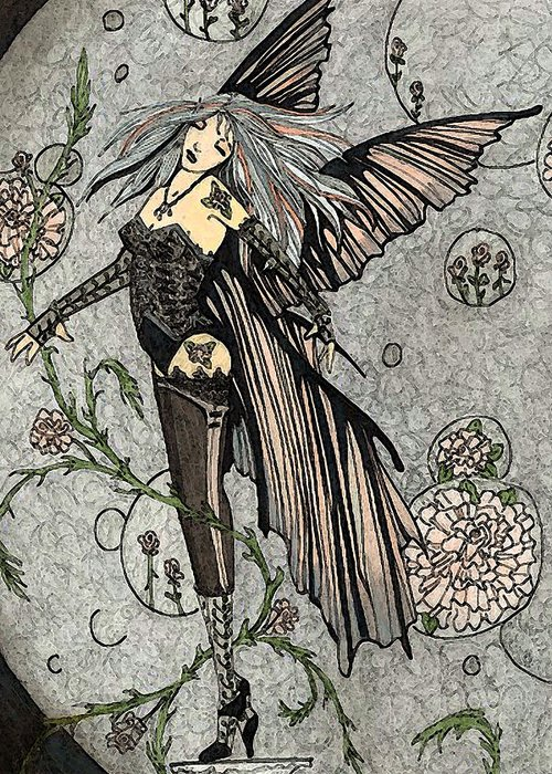 Fairy Greeting Card featuring the drawing Innoence by Terri Hindmarsh
