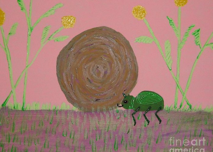 Dung Bettle Greeting Card featuring the painting Insect Happy Meal by Gregory Davis