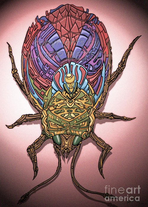 Insect Greeting Card featuring the drawing Insect by Oliver Betsch