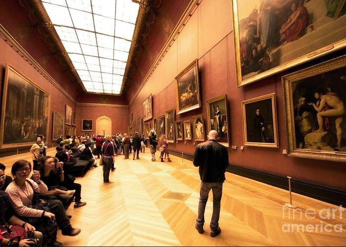 Louvre Museum Greeting Card featuring the photograph Inside Louvre Museum by Charuhas Images