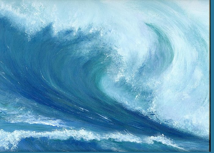 Wave Greeting Card featuring the painting Inside Out by Laura Johnson
