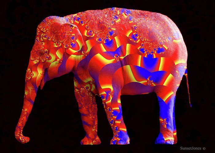 Elephant Greeting Card featuring the digital art Inside Out by Robert Orinski