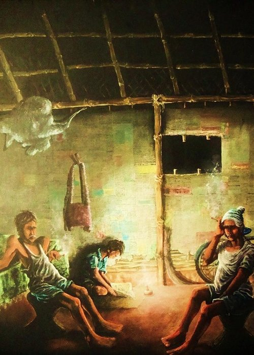 Inside Refugee Hut Greeting Card featuring the painting Inside Refugee Hut by Pralhad Gurung