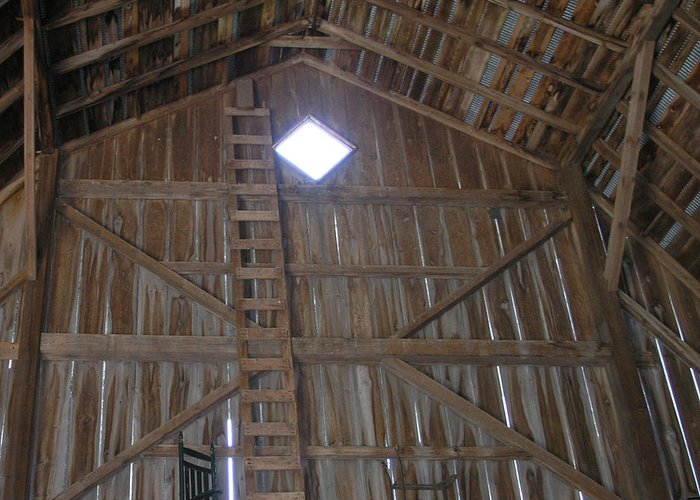 Farm Greeting Card featuring the photograph Inside The Barn by Janis Beauchamp