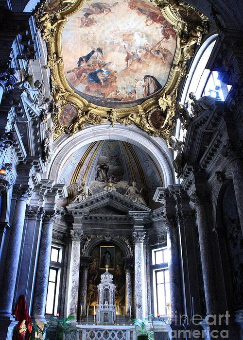 Venice Greeting Card featuring the photograph Inside The Church Santa Maria Della Salute In Venice by Michael Henderson