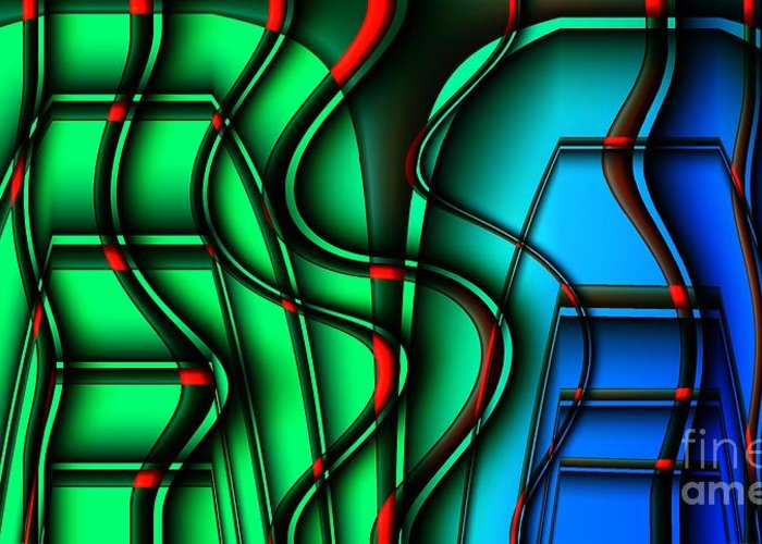 Abstract Greeting Card featuring the digital art Inside The Toaster by Ron Bissett