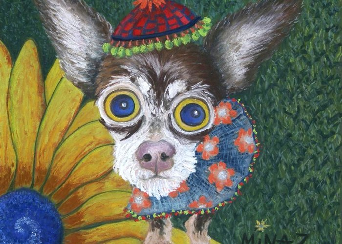Chihuahua Greeting Card featuring the painting Inside Van Gogh's Garden Sits Sunflower Sally by Minaz Jantz