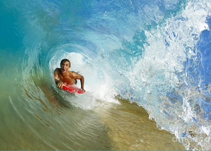 Action Greeting Card featuring the photograph Inside Wave Tube by MakenaStockMedia - Printscapes