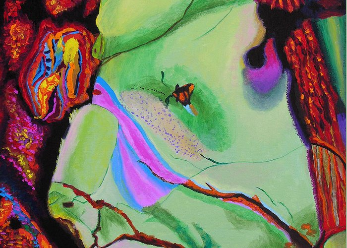 Abstract Greeting Card featuring the painting Inspire Vi by Stan Hamilton