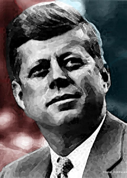 Jfk Greeting Card featuring the drawing Integrity by Diana Gonzalez