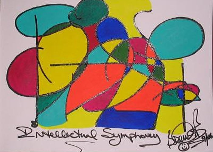 Abstract Greeting Card featuring the painting Intellectual Symphony by Brenda Basham Dothage