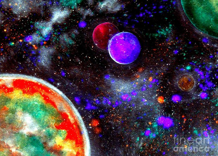 Intergalactic Space Mixed Media Greeting Cards