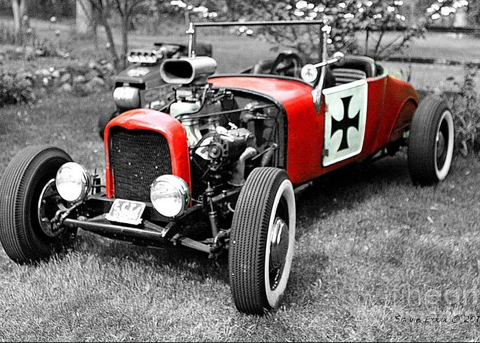 Intense Classic Vintage Red Symbol Life Photograph Auto Automobile black & White Edit Color Greeting Card featuring the photograph Intense. by Stevie Ellis