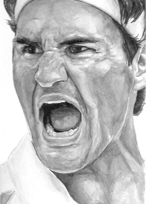 Federer Greeting Card featuring the painting Intensity Federer by Tamir Barkan