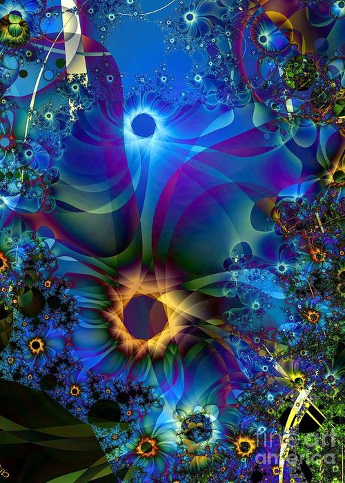 Daisies Greeting Card featuring the digital art Inter-dimensional Daisies by Ron Bissett