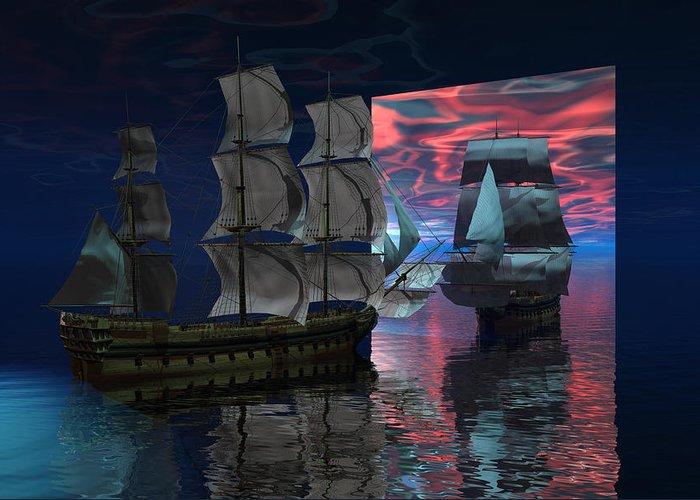 Bryce 3d Digital Fantasy Scifi Windjammer Sailing Greeting Card featuring the digital art Interdimensional Doorway by Claude McCoy