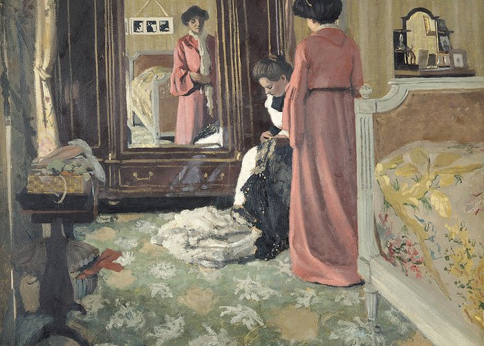 Interior Greeting Card featuring the painting Interior by Felix Edouard Vallotton
