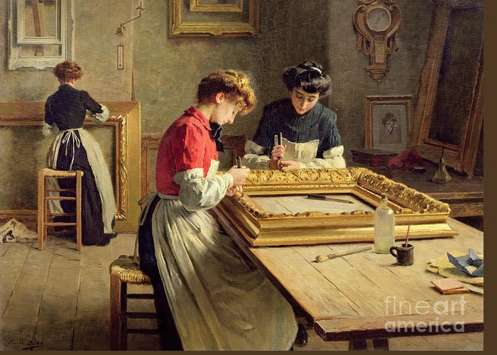 Interior Greeting Card featuring the painting Interior Of A Frame Gilding Workshop by Louis Emile Adan