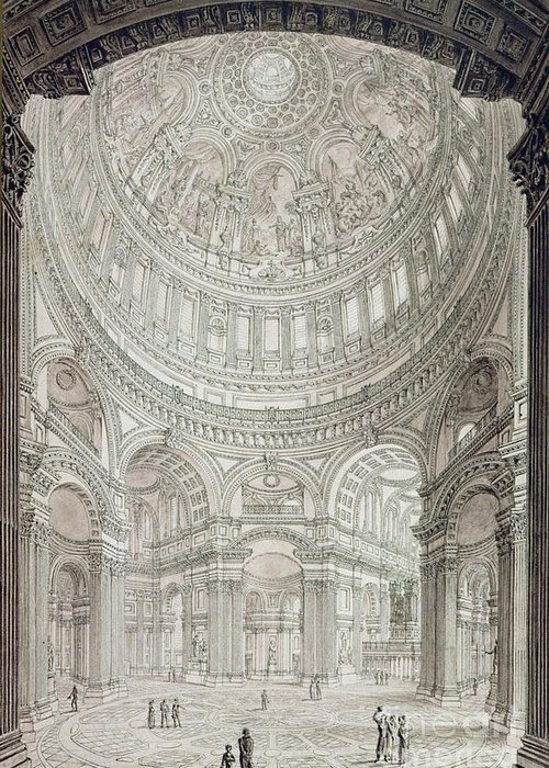 Church; Architecture; Dome; Baroque; Christopher Wren Greeting Card featuring the drawing Interior Of Saint Pauls Cathedral by John Coney