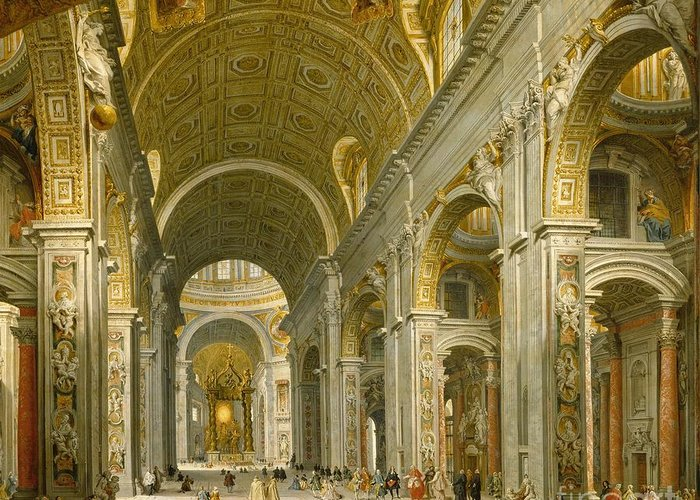 Interior Greeting Card featuring the painting Interior Of St. Peter's - Rome by Giovanni Paolo Panini