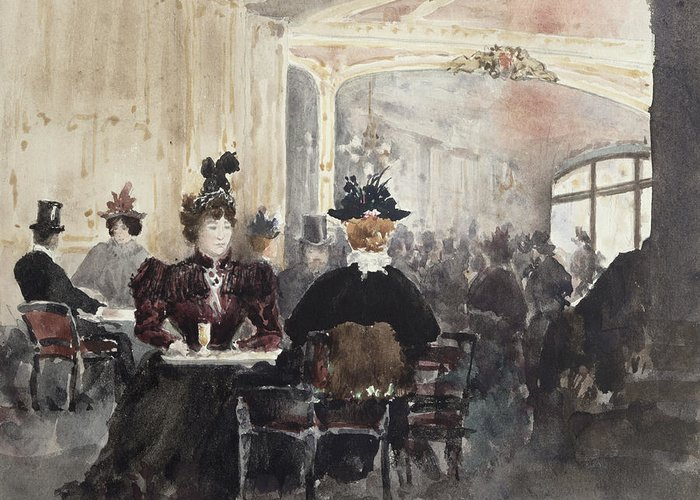 Interior Greeting Card featuring the painting Interior Of The Concert Rouge by Henri Laurent Mouren