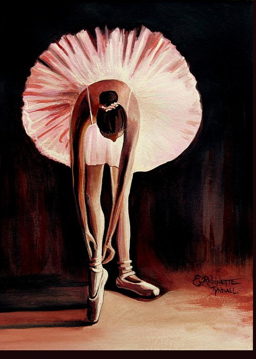 Ballerina Greeting Card featuring the painting Interlude by Elizabeth Robinette Tyndall