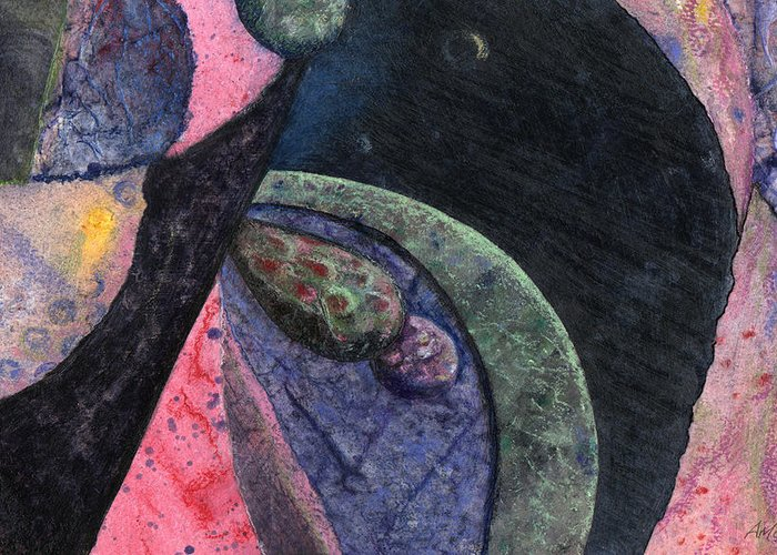 Irish Greeting Card featuring the painting Interplanetary 1 by Anne Marie ODriscoll