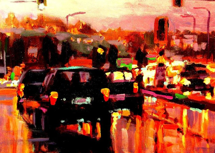 Traffic Paintings Greeting Card featuring the painting Intersection by Brian Simons