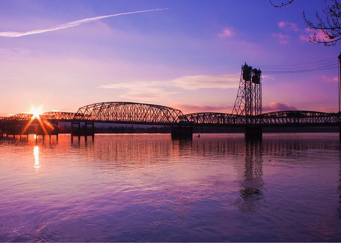 Interstate Bridge Greeting Card featuring the photograph Interstate Bridge by Merrill Beck