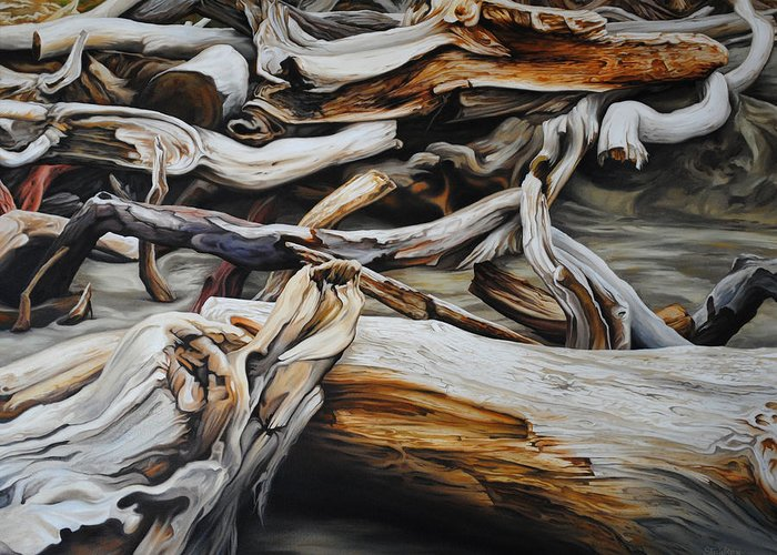Driftwood Greeting Card featuring the painting Intertwined by Chris Steinken