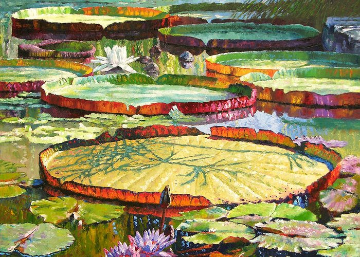 Garden Pond Greeting Card featuring the painting Interwoven Beauty by John Lautermilch