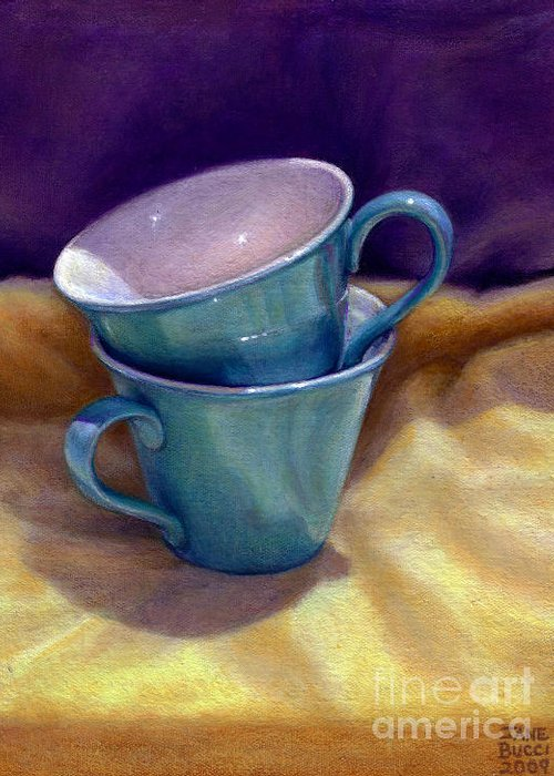 Still Life Greeting Card featuring the painting Into Cups by Jane Bucci