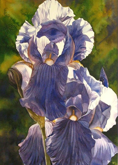 Iris Greeting Card featuring the painting Into The Blue by Alfred Ng