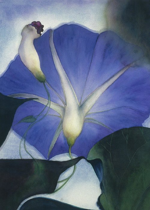 Morning Glory Greeting Card featuring the painting Into The Blue by Nancy Ethiel