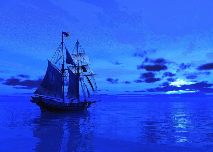 Sailing Greeting Card featuring the painting Into The Blue by Timothy McPherson